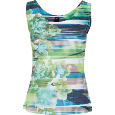 BURNOUT TANK – POOL STRIPE FLORAL